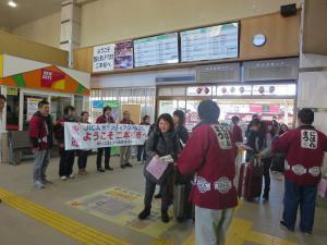二本松駅にて候補生出迎え