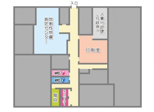 本庁舎地下1階のフロアマップ