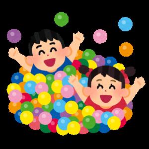 ボールで遊ぶ子ども達のイラスト
