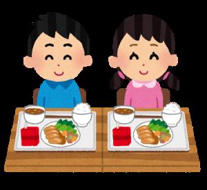ご飯を食べる子どもたちのイラスト