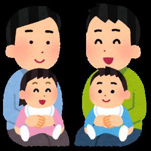 赤ちゃん連れのパパたちのイラスト