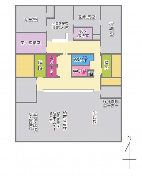 本庁舎4階のフロアマップ