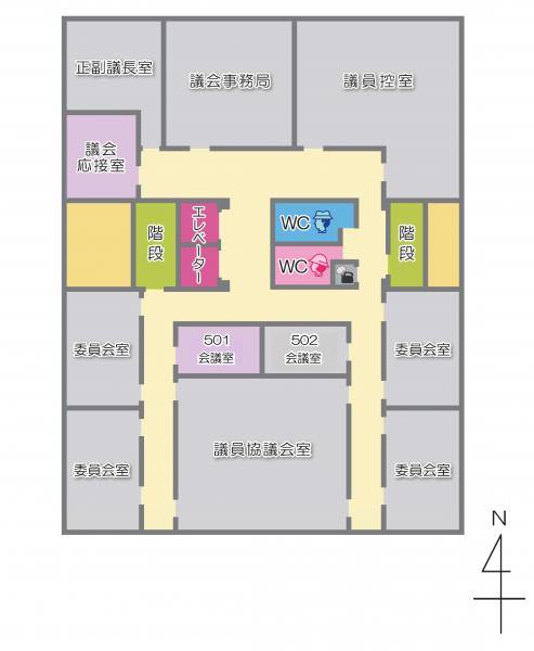 本庁舎5階のフロアマップ