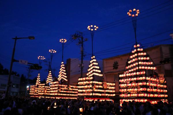2019二本松の提灯祭り1日目(提灯の灯った太鼓台)