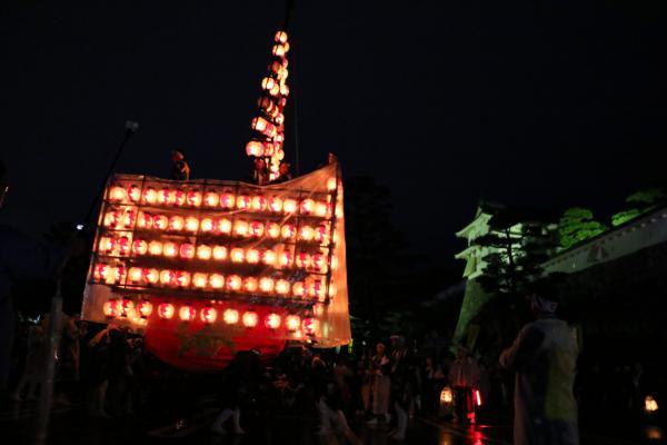 2019二本松の提灯祭り3日目三町出発式(太鼓台と箕輪門)