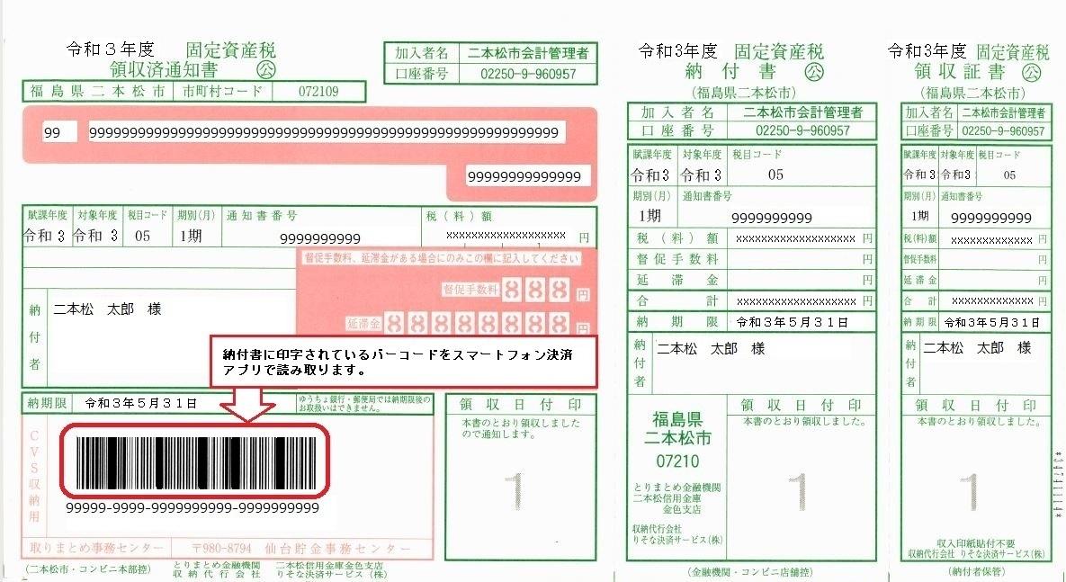 納付書バーコード印字位置