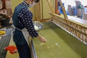 和紙伝承館_楮の繊維を水に入れる